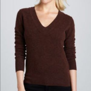 CAbi Brown V Neck Thin Knit Long Sleeve Sweater